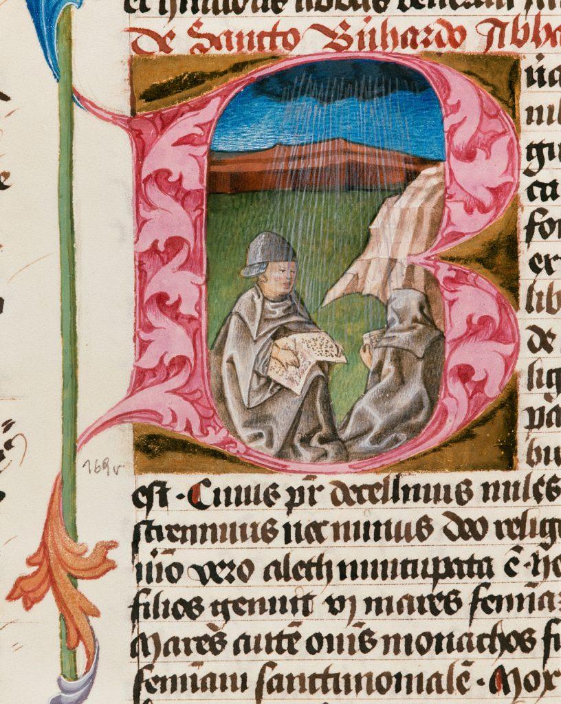 Regenwunder des Hl. Bernhard, Legenda aurea, Wien, ÖNB, cod. 326, fol. 169v, 1446/47
