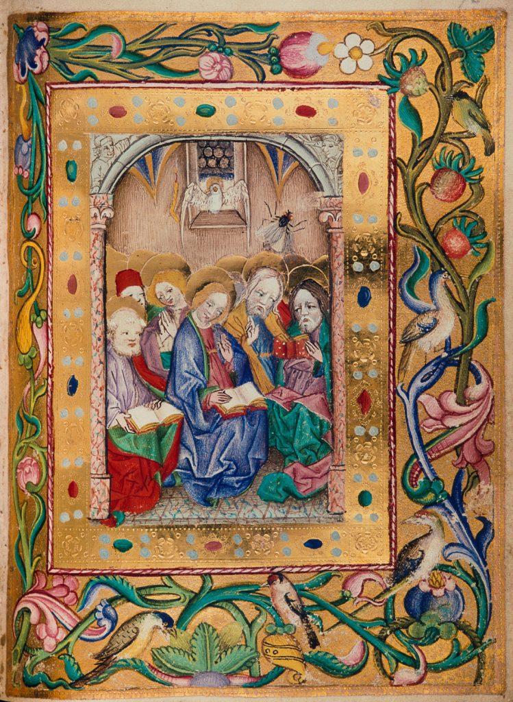 Ausgießung des Heiligen Geistes, Lehrbücher-Meister, Stundenbuch, Wien, ÖNB, cod. s. n. 2599, fol. 95r.