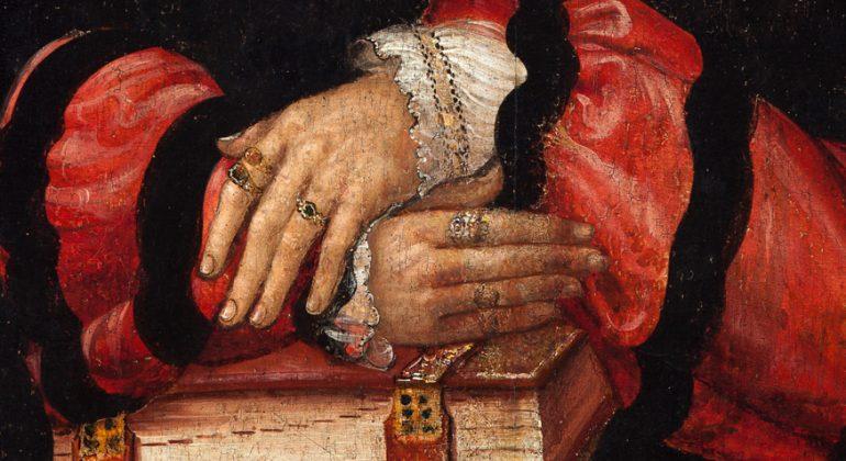 Detail aus dem Portrait des Wolfgang Kappler. museumkrems: Tafelbild 1530, Niclas Preu (zugeschrieben).
